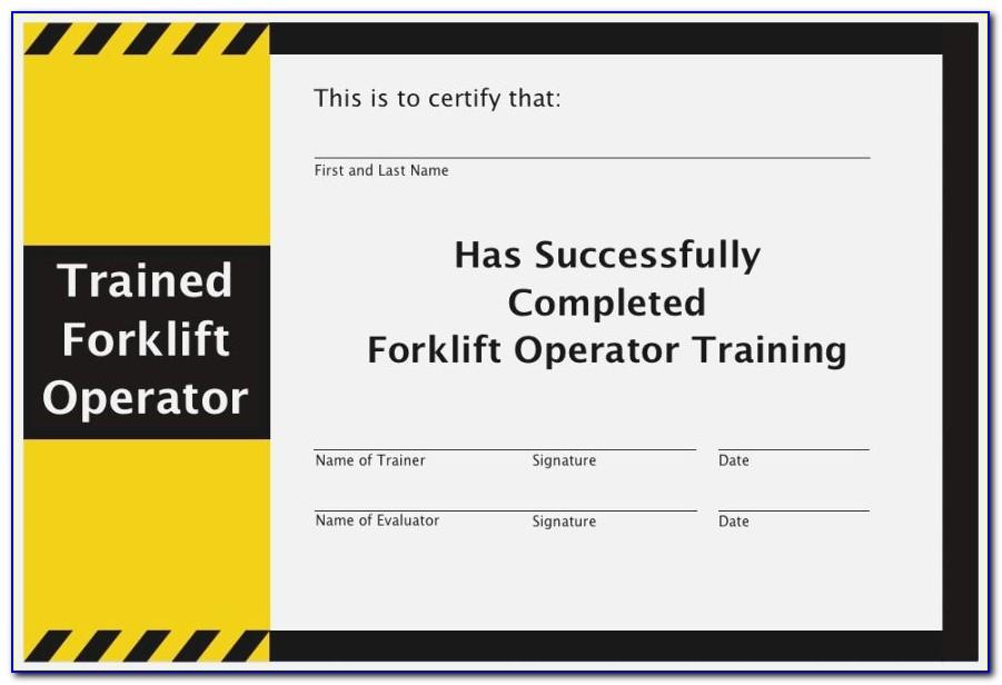Forklift Certification Wallet Card Template Free