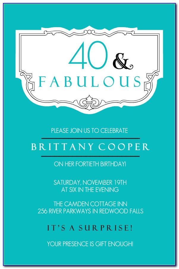 Free 40th Birthday Invitation Templates Printable