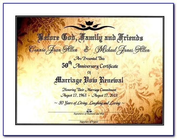 Free 50th Wedding Anniversary Certificate Template