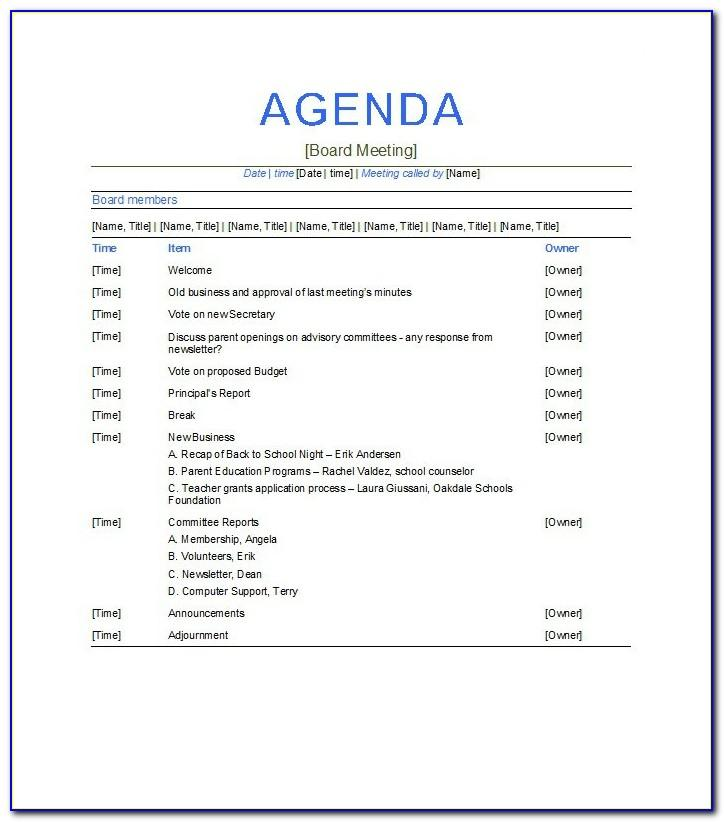 Free Business Meeting Agenda Template Word