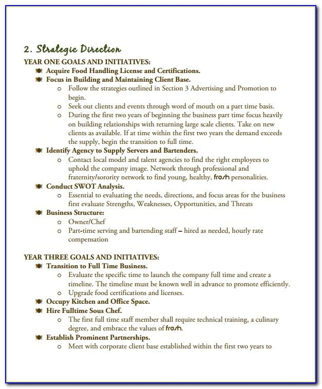 Free Business Plan Template Catering Company