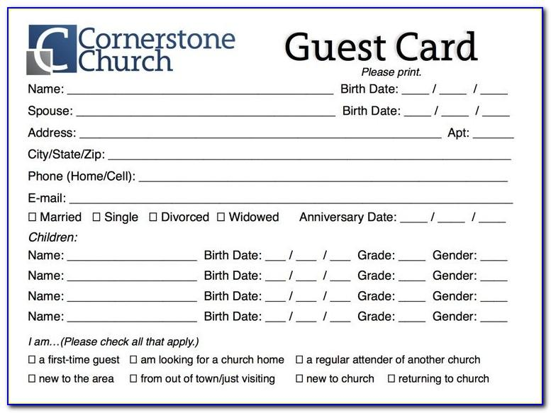 Free Church Visitor Card Template Doc