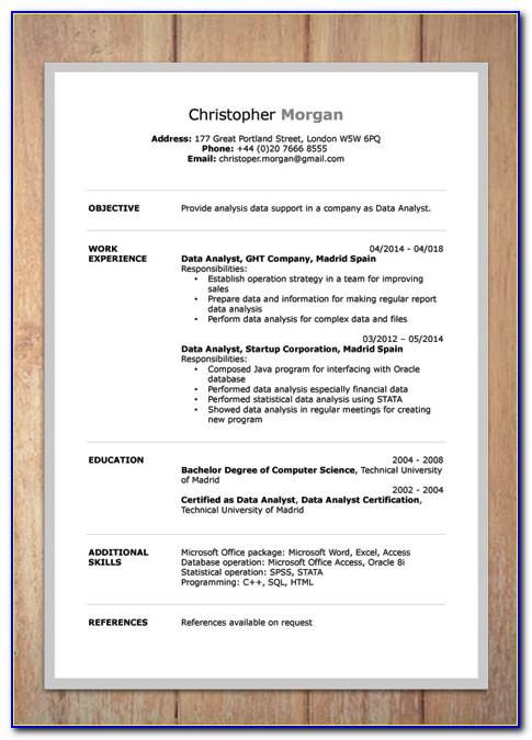 Free Curriculum Vitae Template Word Download