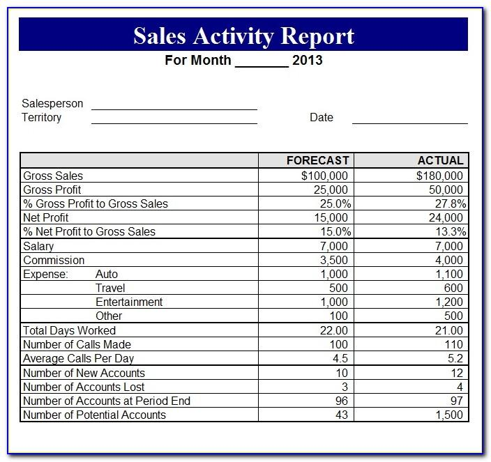 Free Daily Sales Call Report Template In Excel