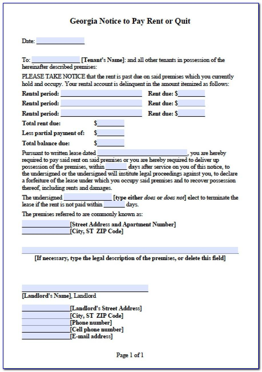 Free Eviction Notice Template Ga