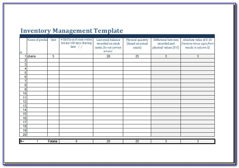 Free Excel Template For Inventory Management