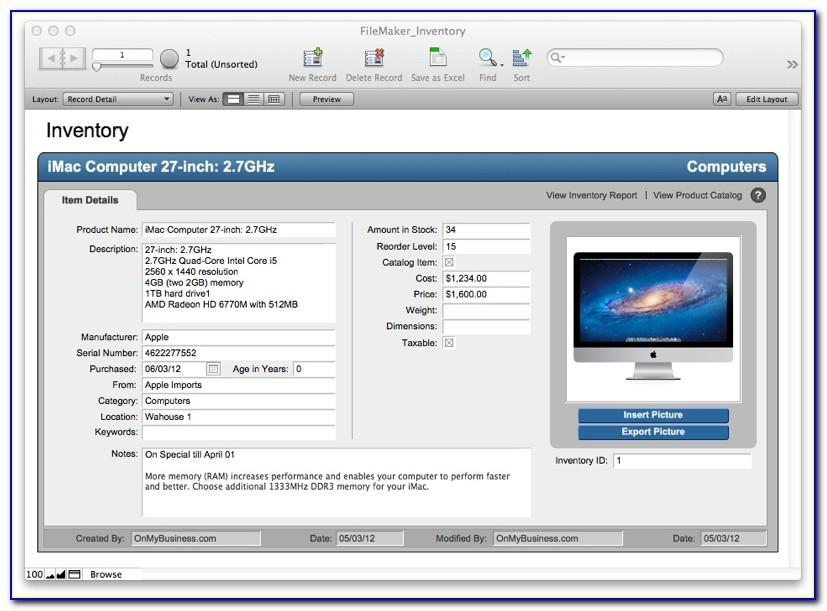 Free Filemaker Templates Database