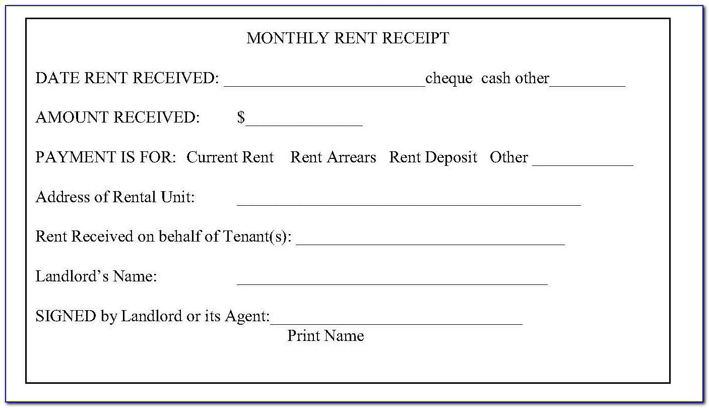 Free Fillable Rent Receipt Template
