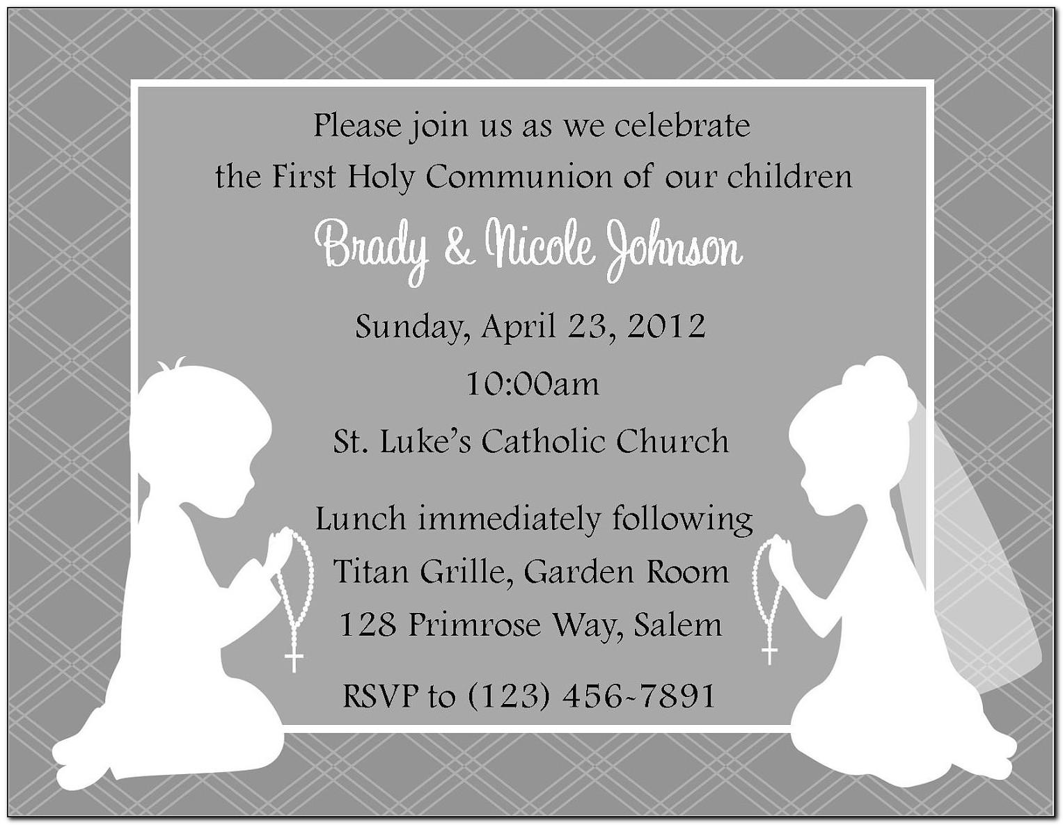 Free First Communion Party Invitation Templates