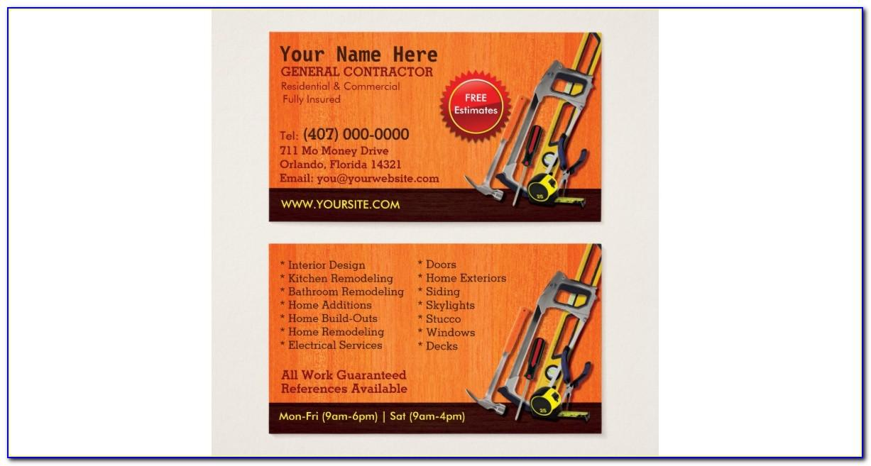 Free General Contractor Business Card Templates