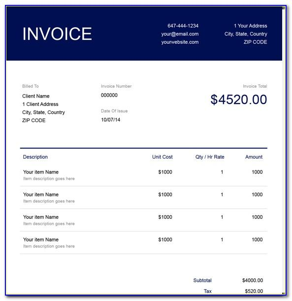 Free Invoice Template For Legal Services