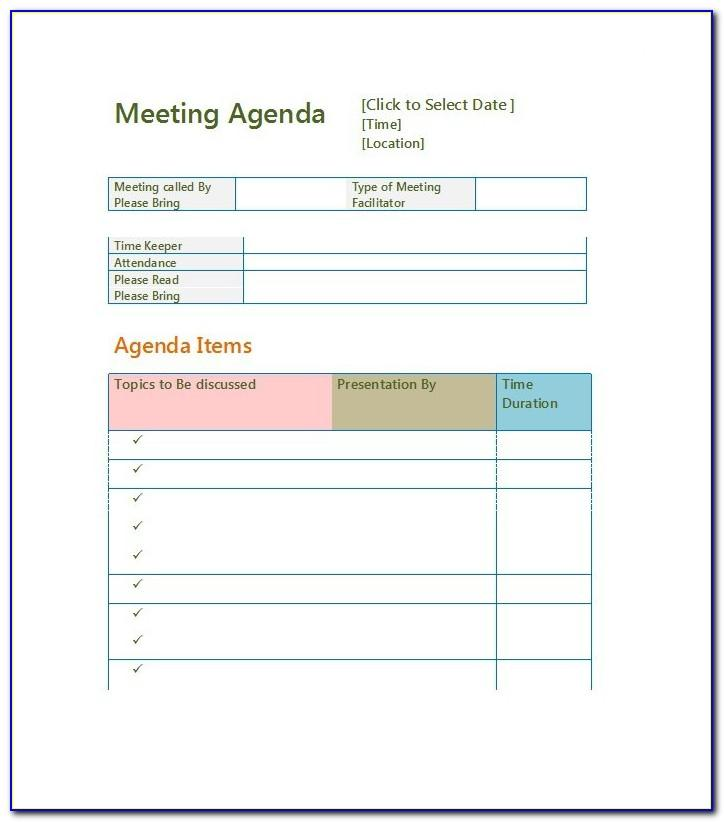 Free Meeting Agenda Template Word 2010