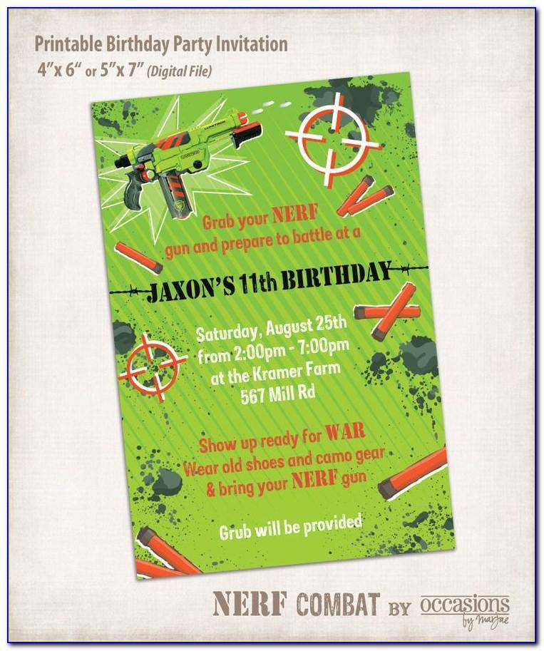 Free Nerf Birthday Party Invitation Template