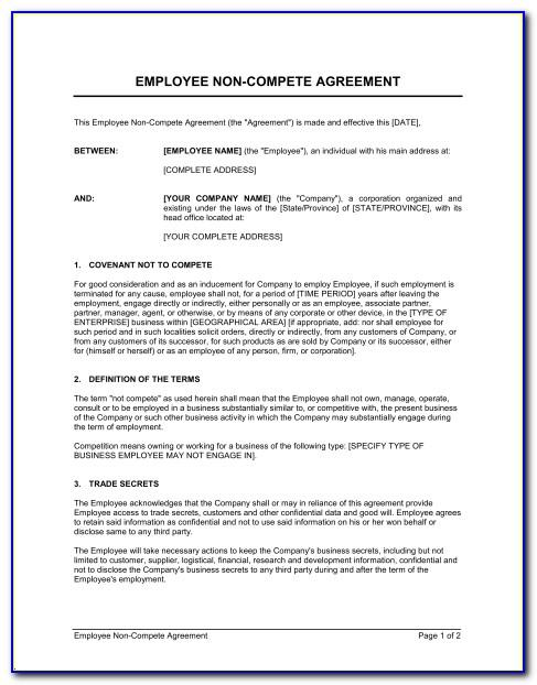 Free Non Competition Agreement Template