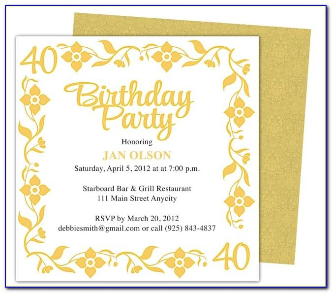 Free Online 40th Birthday Invitation Templates