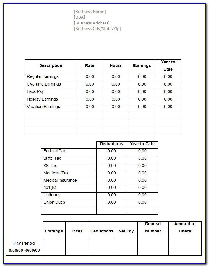 Free Pay Stubs Templates Online
