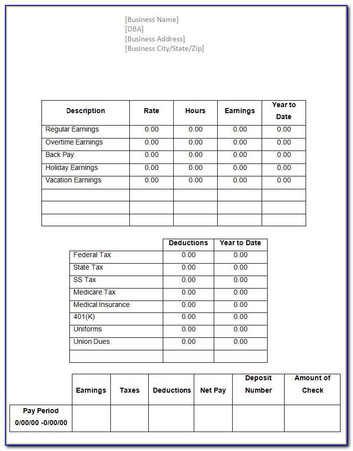 Free Printable Check Stubs Template