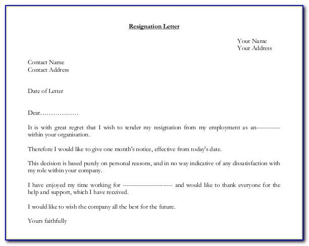 Free Printable Letter Of Resignation Template