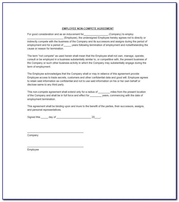 Free Printable Non Compete Agreement Template