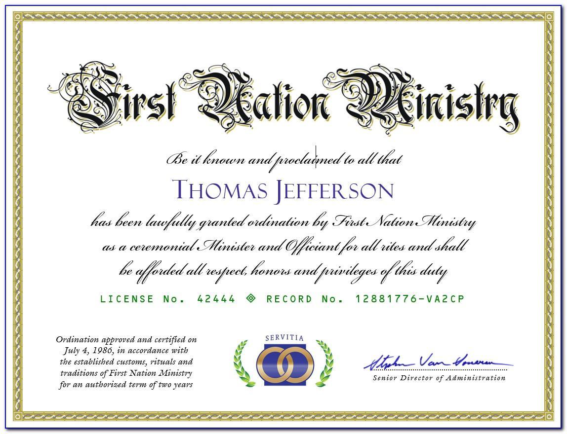Free Printable Ordination Certificate Templates