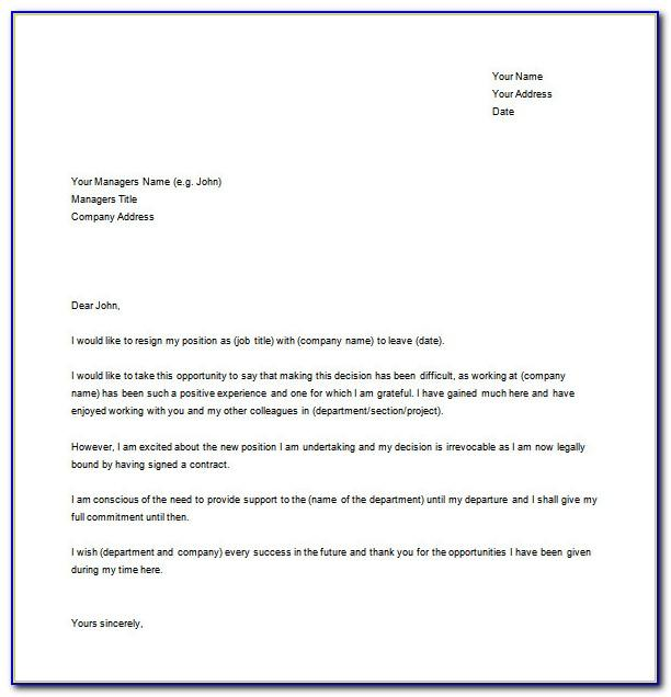 Free Resignation Letter Template Word