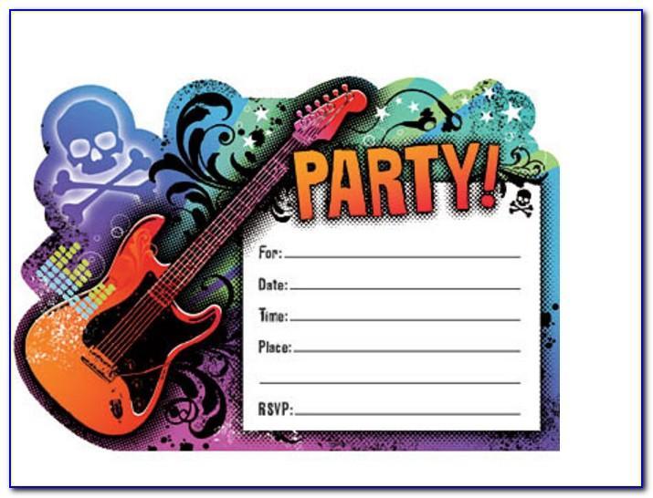 Free Rock Star Birthday Party Invitation Templates