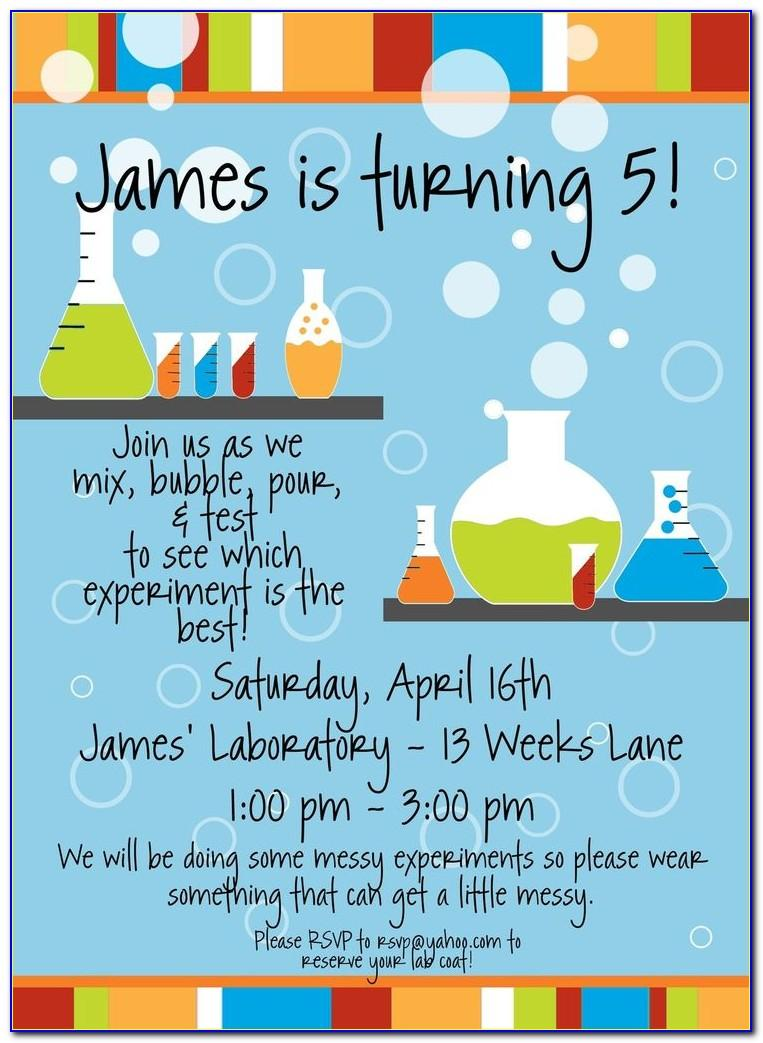 Free Science Birthday Party Invitation Templates