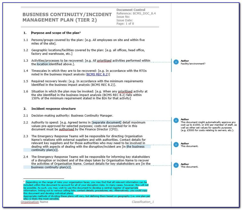 Free Simple Business Continuity Plan Template