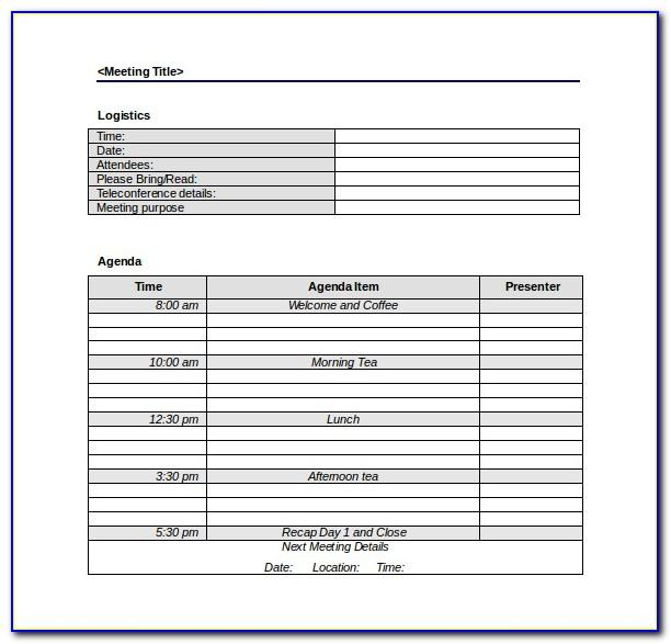 Free Team Meeting Agenda Template Word