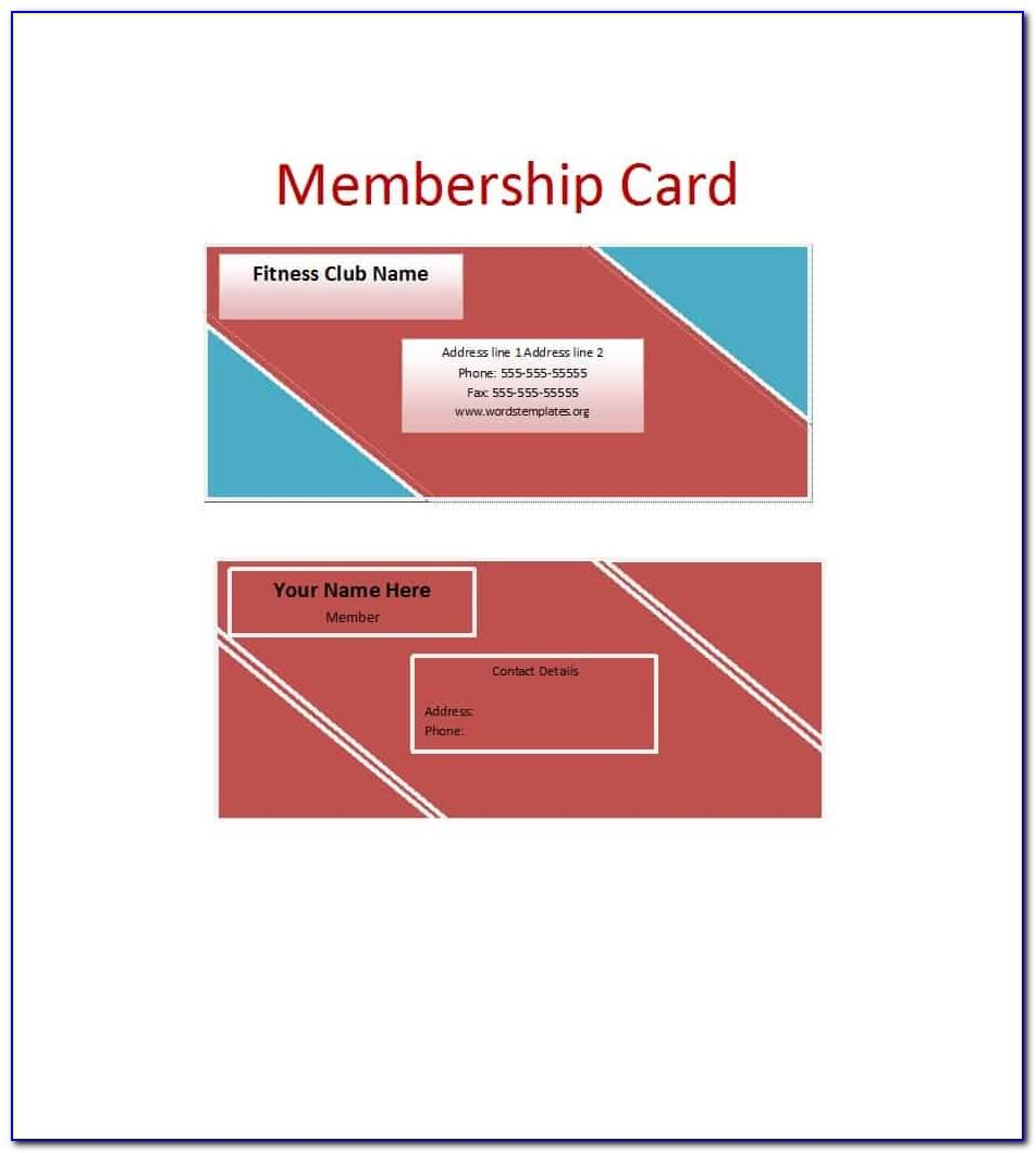 Free Template For Membership Cards