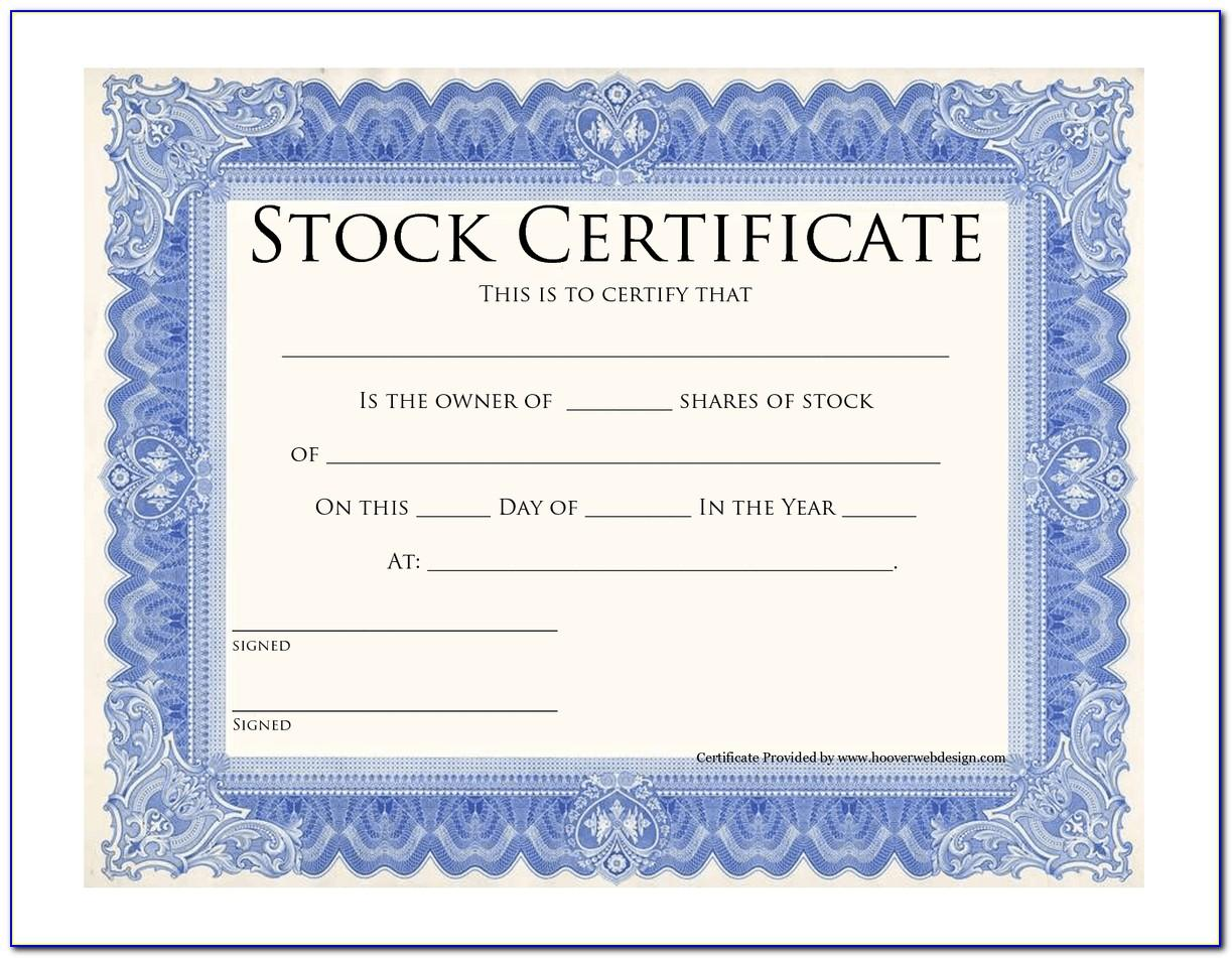 Free Template Stock Certificate