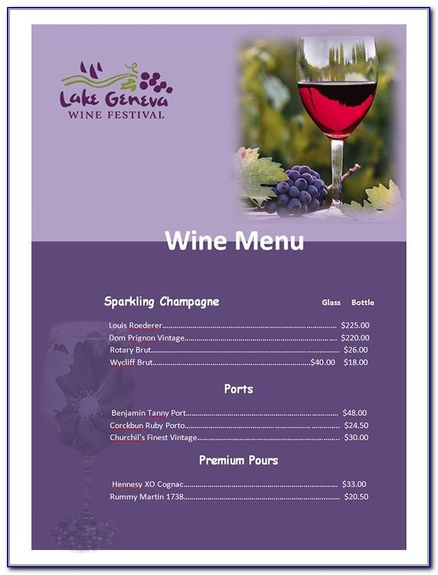 Free Wine List Menu Template Word