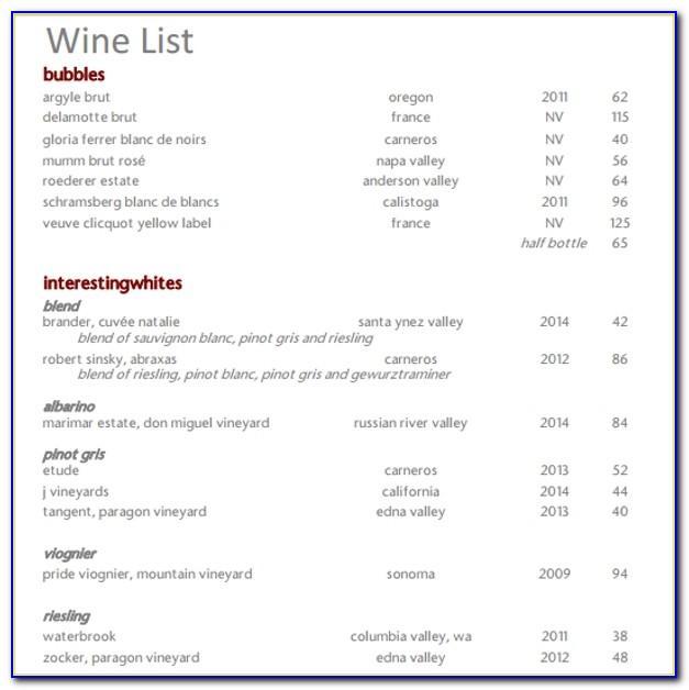 Free Wine Menu Template Word