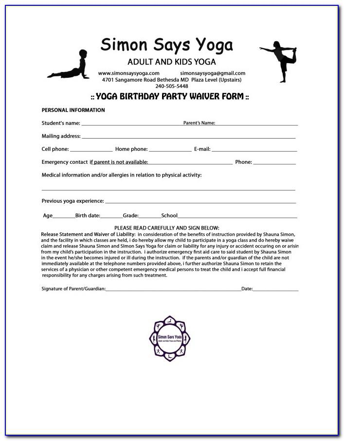 Free Yoga Waiver Template