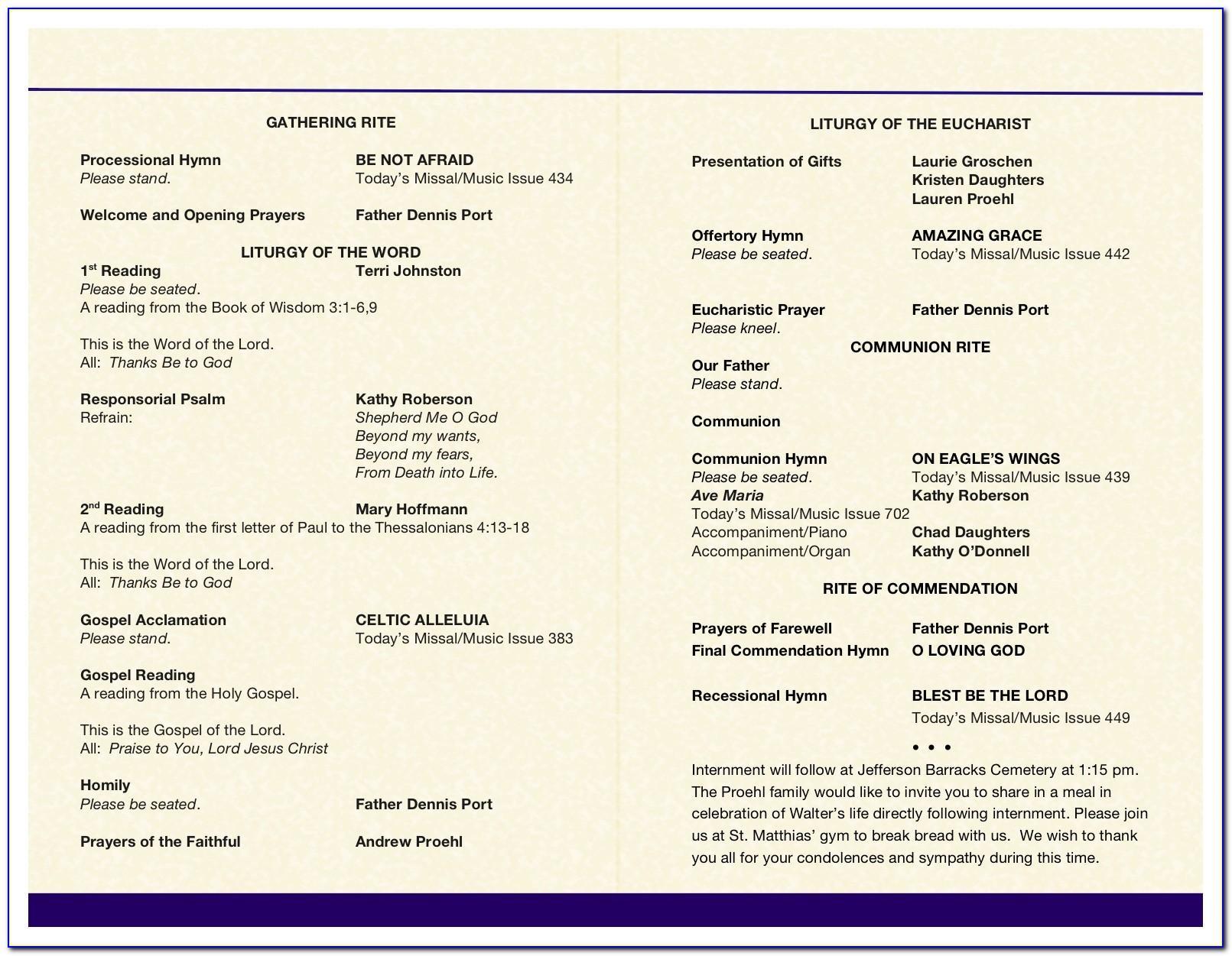 Funeral Mass Program Template Free