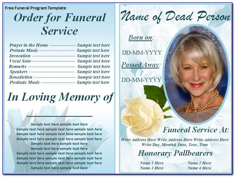 Funeral Service Booklet Template Free