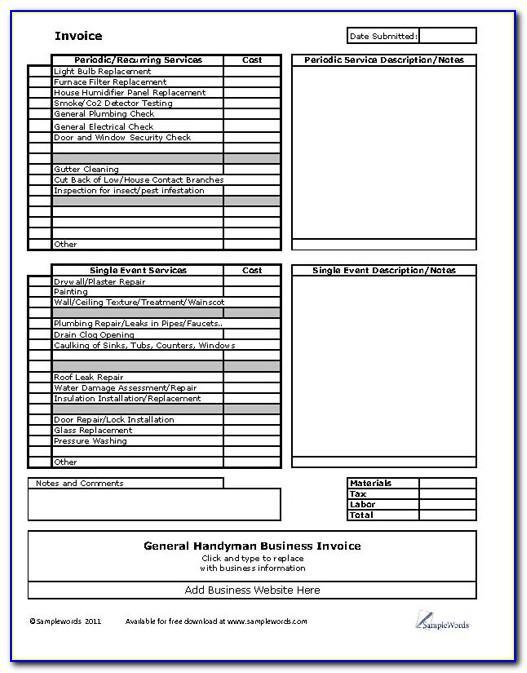 Handyman Invoice Template Word Free