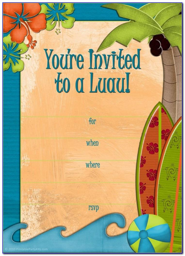 Hawaiian Party Invite Templates Free