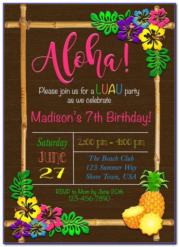 Hawaiian Themed Invitation Templates Free