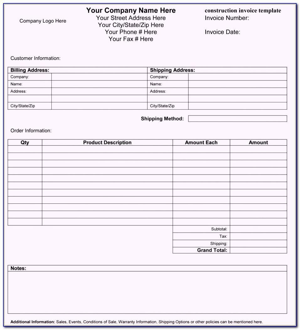 Interior Design Invoice Format