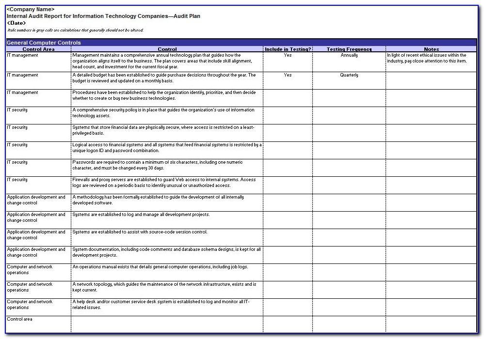 Internal Audit Checklist Template Excel