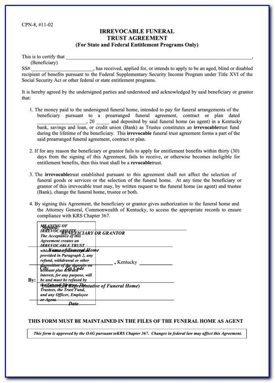 Irrevocable Trust Template Kentucky