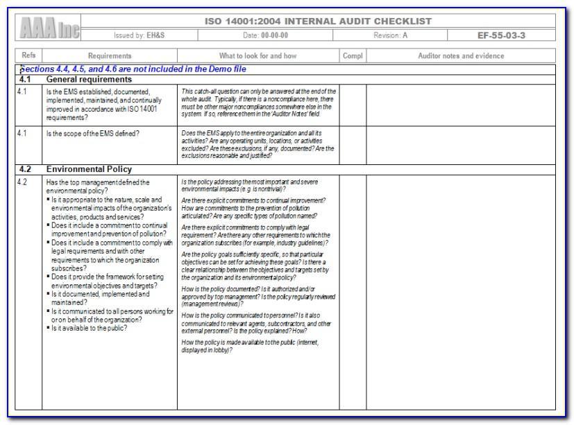 Iso 22301 Gap Analysis Checklist