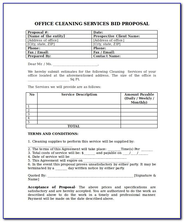 Janitorial Proposal Layout