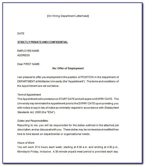 Job Offer Letter Template Free Download