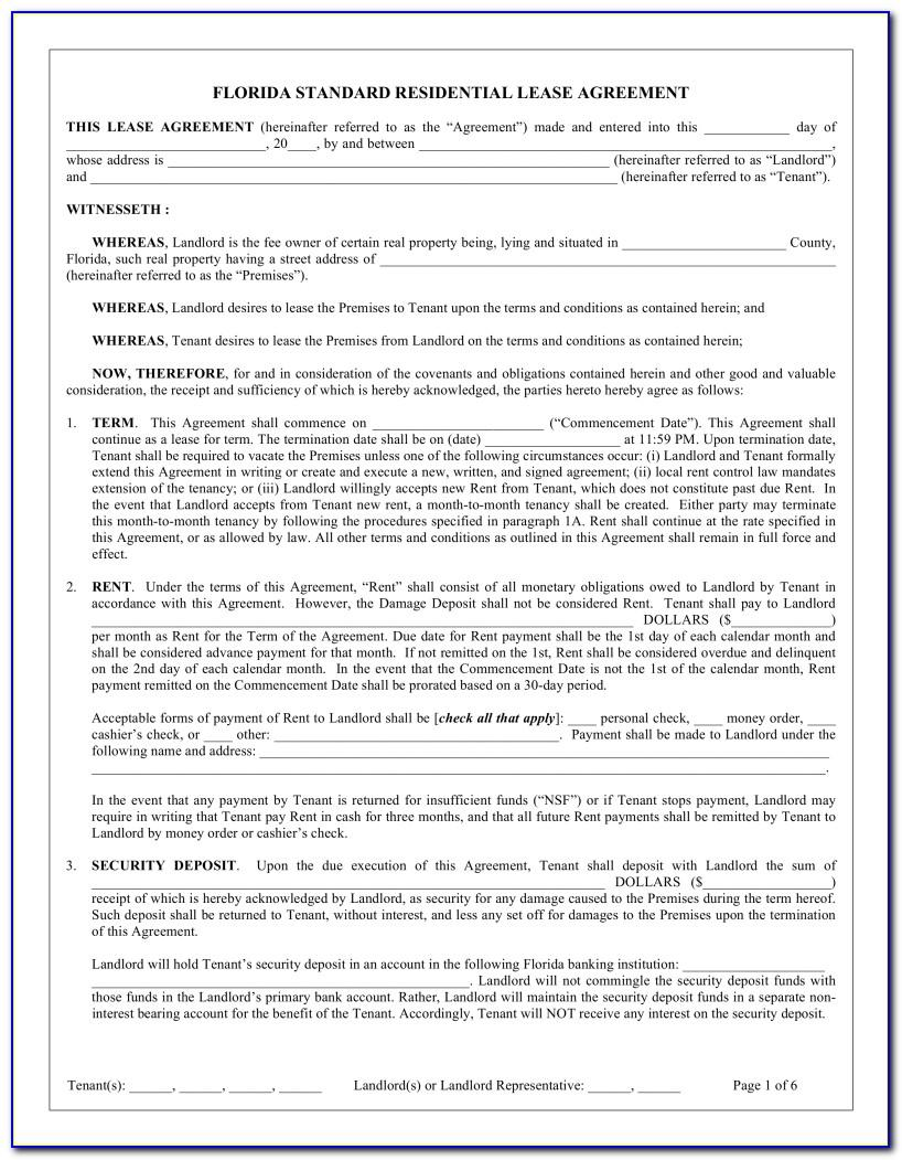 Lease Agreement Florida Template Free