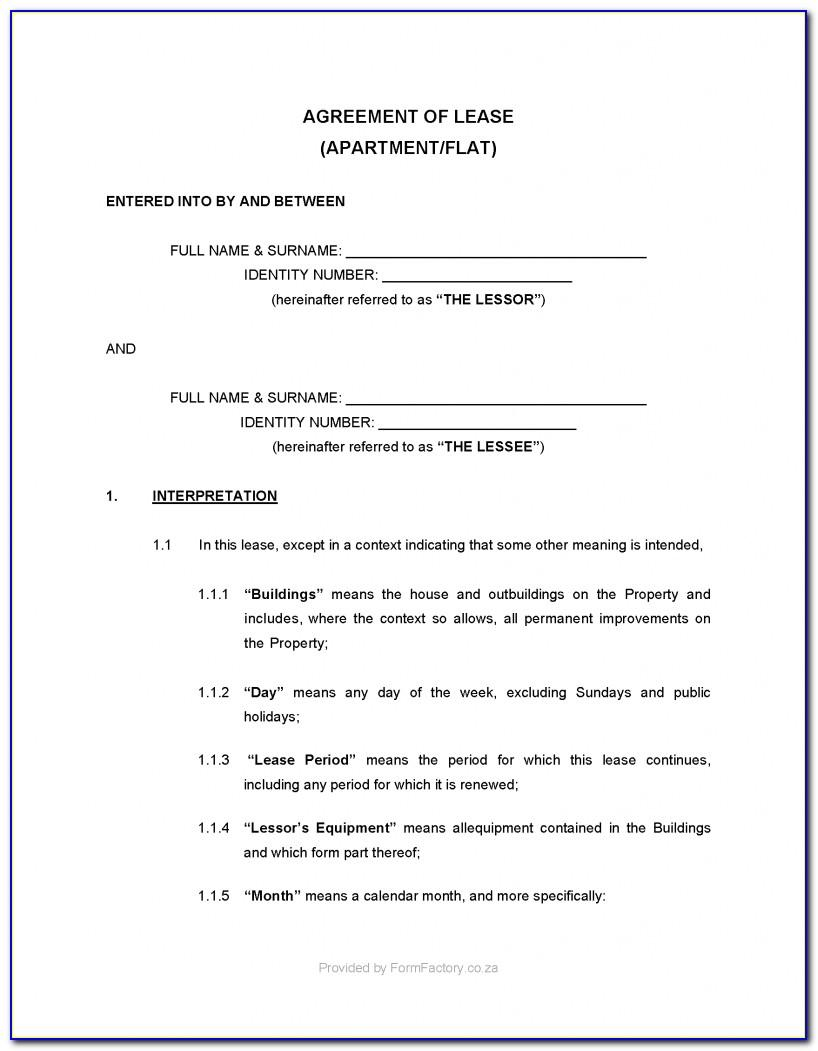 Lease Agreement Template Residential South Africa