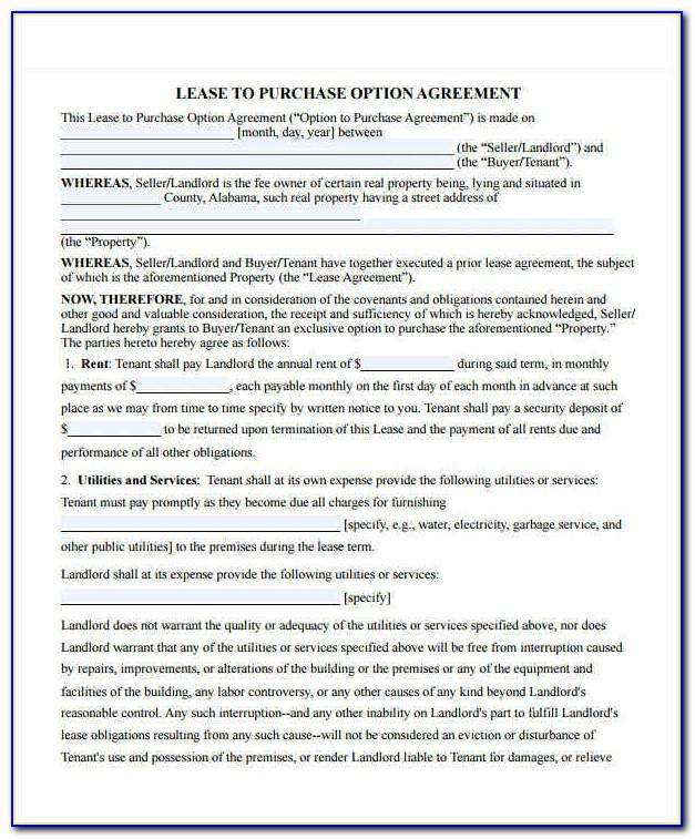 Lease To Own Agreement Template Free