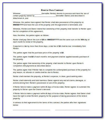 Lease To Own Contract Template Free