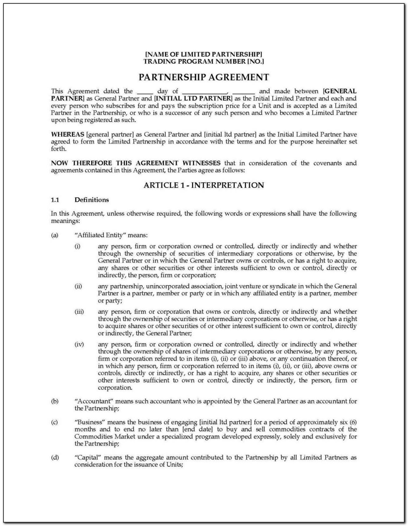 Llp Partnership Agreement Template Free Malaysia
